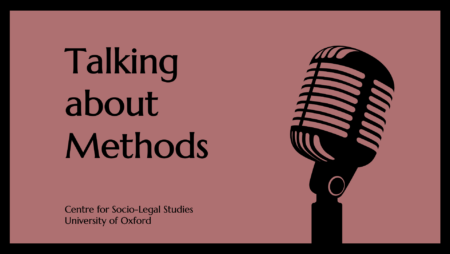 Logo artwork for the Talking about Methods podcast of Frontiers of Socio-Legal Studies